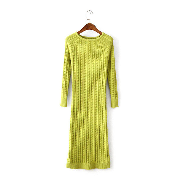 New Twist Women long sweater dress spring sexy slim Bodycon Dresses Elastic Skinny Split Dress Brief Knitted Dress vestidos