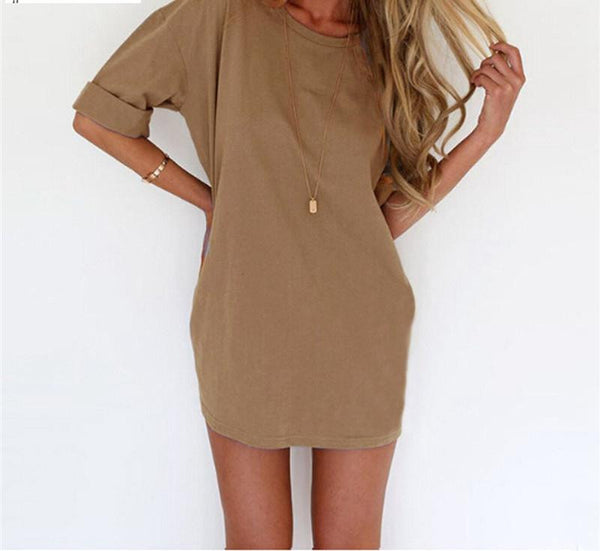 Women Dress Casual Loose Sexy Ladies Short Sleeve Solid Mini Dresses Vestidos Plus Size S-4XL