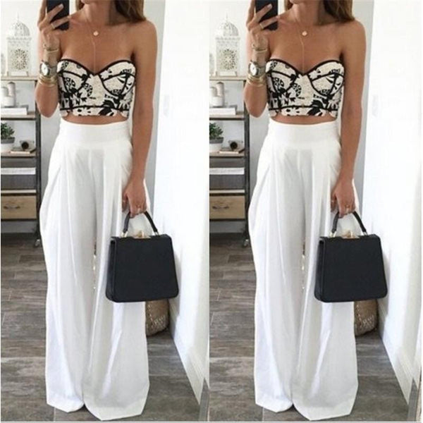 Women Wide Leg Pants High Waist Dance Party Pants Casual Trousers Loose Long Chiffon Harem Pants