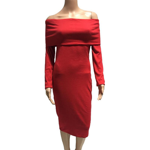 Sexy Off Shoulder Knitted Dress For Women Autumn Long Sleeve Slash Neck Women Dress Slim Bodycon Dress Ladies