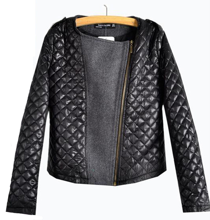 New Arrival Autumn Winter European Style Fashion Quilting Stitching Woolen Coats Ladies Long Sleeve ZipperBlackXLa