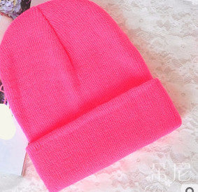 Online discount shop Australia - 28 Colors Fashion Knitted Neon Women Beanie Girls Casual Cap Women's Warm Hats Unisex