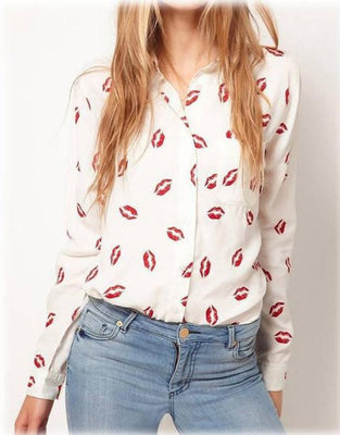 Women Blouse Turn-down Collar Red Lip Print White Lady Chiffon Shirt Long Sleeve Tops Plus Size y487