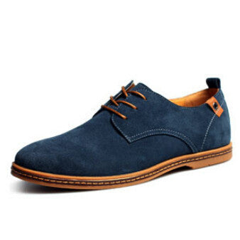 Plus Size New Fashion Suede Genuine Leather Flat Men Casual Oxford Shoes Low Men Leather Shoes #K01