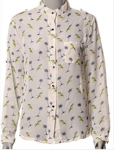 Women Long Sleeve Bird Printed Casual Chiffon Shirt Fashion Slim Blouse Shirts For Women