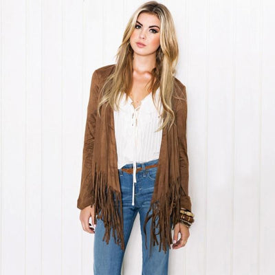 Women's Casual Long Sleeve Tassel Cardigan Sweater Jacket Coat Outwear
