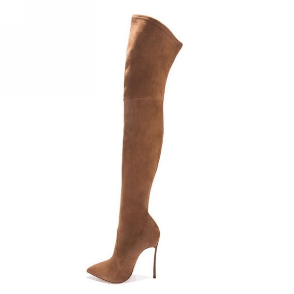 Women Boots Stretch Faux Suede Slim Thigh High Boots Fashion Sexy Over the Knee Boots High Heels Shoes Woman