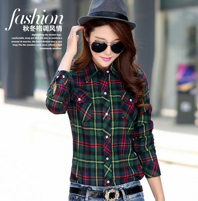 new women's casual warm wool shirts blouse / Women's long sleeve plus velvet plaid shirt