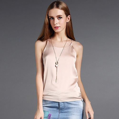 Silk Halter Top Women Camisole  Style Sexy Sleeveless Vest Slim White Crop Top Women