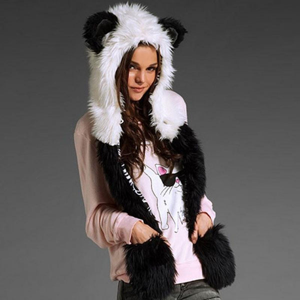 Warm Animal Fur Hat Scarf Fluffy Plush Cap Ear Hood Shawl Glove Unisex DM#6