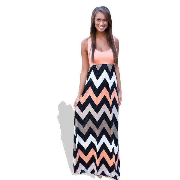 Women Summer Dress Striped Print Long Dress Beach Boho Maxi Dress Feminine Plus Size
