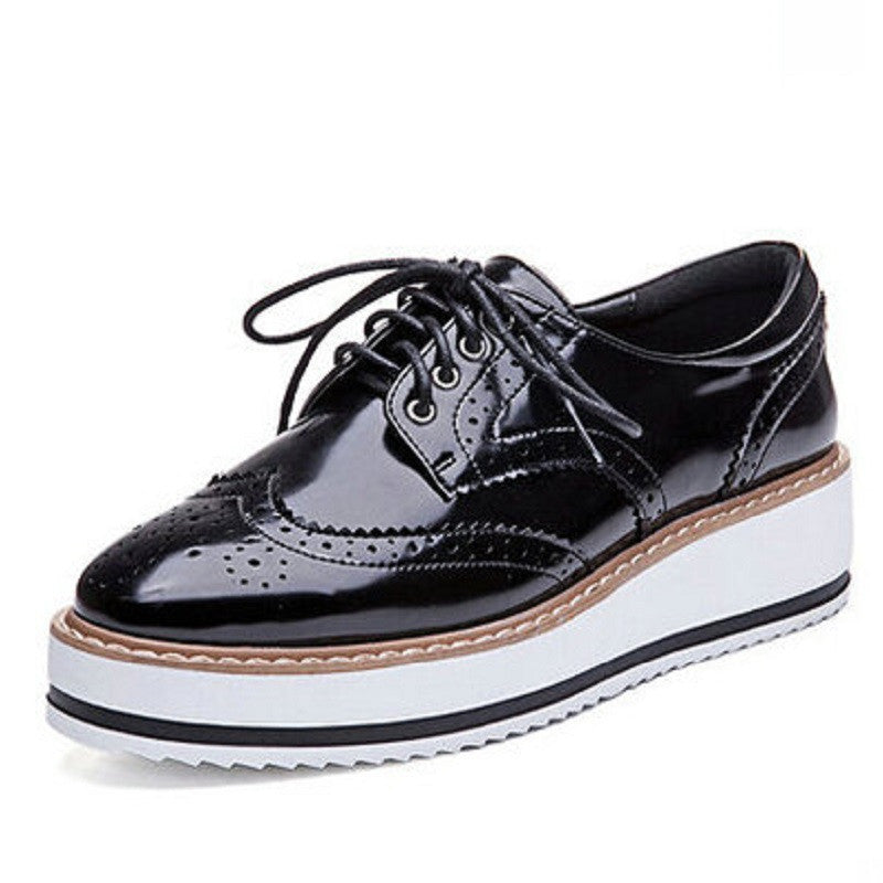 New Womens Winged Oxford Lace Up Striped Platform Metallic Silver Black Fashion Vintage Platform Bullock Flat Female Shoesblacka