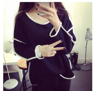 Trends All-match Sweatshirt Geometry Design Loose And Long Sleeve Sweatshirt Women 3 Colors