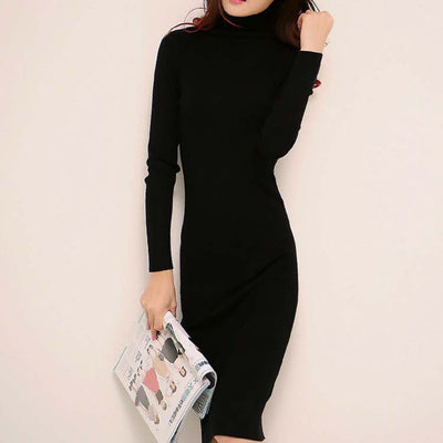 women winter sweater dresses slim Turtleneck long knitted dress sexy bodycon robe dress D019