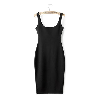 Online discount shop Australia - Autumn Women Dress Sleeveless Slim O-neck Solid Color Pencil Casual Tank Dress Size S M L Vestido De Verao QZ204R1