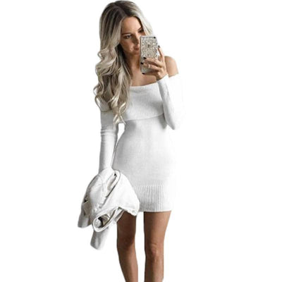 Winter Elegant White Stretchy Knitted Casual Dress Women Evening Party Sexy Autumn Bodycon Sweater Girls Dresses Vestidos