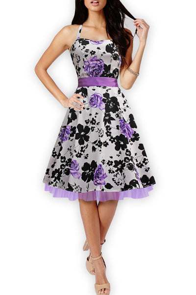 Online discount shop Australia - Floral Print Party Dresses Women Rockabilly 50s 60s Print Dress Cotton Sleeveless Vintage Dress Plus Size