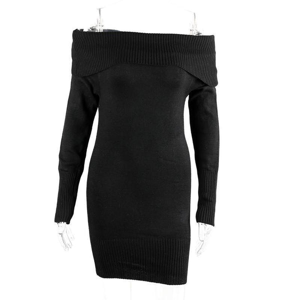 Simplee Winter off shoulder knitted bodycon dress Women long sleeve autumn sexy dress party short white dresses vestidos