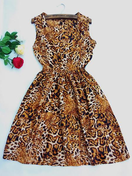 Women casual Bohemian floral leopard sleeveless vest printed beach chiffon dress nz18