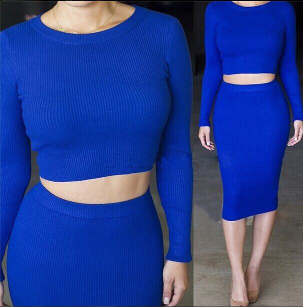 2 Pcs Women Sets Long Sleeve Midi Pencil Bodycon Vestidos Casual Office Clothing Elegant Slim Bandage DressesblueLa