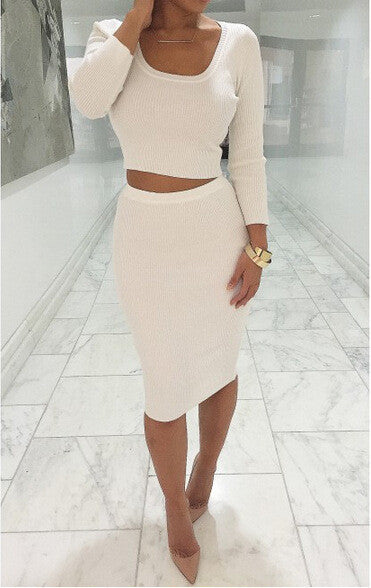 Online discount shop Australia - 2 Pcs Women Sets Long Sleeve Midi Pencil Bodycon Vestidos Casual Office Clothing Elegant Slim Bandage Dresses