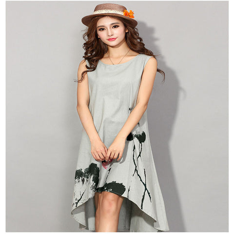 Online discount shop Australia - Casual Vintage Long Summer Dress Vestido 6XL Plus Size Party Linen Sundress Maxi Women Dress Robe Longue Femme Clothes