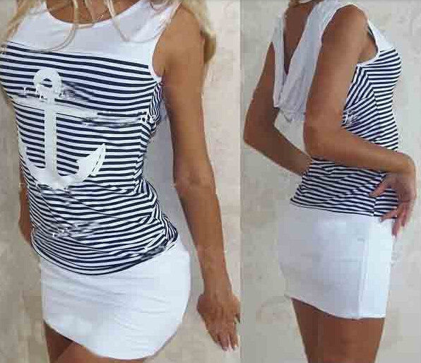 Online discount shop Australia - Fashion Summer Women Dress Sleeveless Casual Striped Ladys' Dresses QAF15C Vestidos