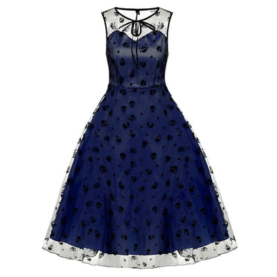 Retro Women Vintage Style Sleeveless Mesh Embroidery Long Cocktail Party Dress Flower Skull Ball Grown