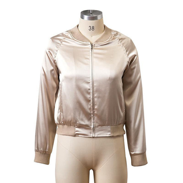 Satin Cotton Bomber Jacket Women Harajuku Pilot Jacket Coat Casual Basic Bomber Jackets Outerwear