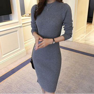 Online discount shop Australia - Autumn Winter Women Dress Slim Sexy S-Line Medium Style Knitted Dress Basic Solid Half Turtleneck Black Sweater Dress