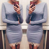 Women casual Elegant lace solid bodycon dress Christmas evening party long sleeve winter dress LX067