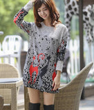 Women Fashion Print Dress Casual Loose Big yards Sexy Round Neck Short Dress G0110