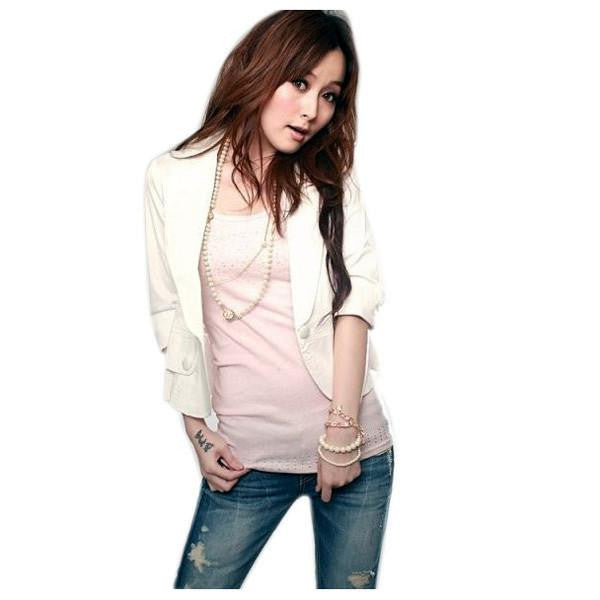 Women Girl Casual Short Coat 3/4 Sleeve One Button Jacket Tops Overcoat