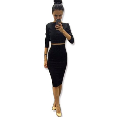 Women Dress Autumn Dress Sexy 2 Piece Set Women Fashion Two Piece Outfits Sexy Crop Top Ladies Two Piece Set