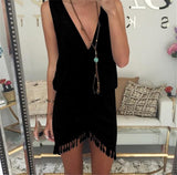 Summer Style Women Tassel Dress Fashion Deep V-neck Sexy Beach Dresses Solid Smock Waist Front Wrap Boho Dress vestido