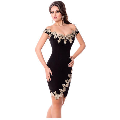 Sexy Party Robes Gold Lace Black Off Shoulder Mini Dress elegantes LC22715