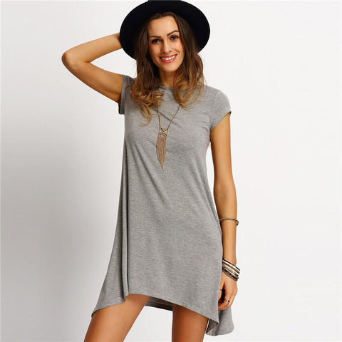 Womens Summer Dresses Ladies Grey Asymmetric Hem Casual Round Neck Short Sleeve Shift Tees Dress