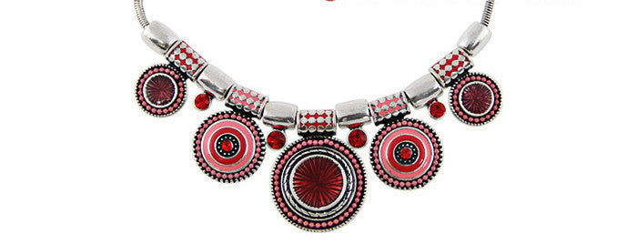 New Choker Necklace Fashion Ethnic Collares Vintage Silver Plated Colorful Bead Pendant Statement Necklace For Women Jewelrya