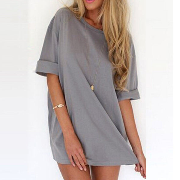 Online discount shop Australia - Fashion Women Casual Loose Dress Sexy Ladies Short Sleeve Solid Color Mini Dresses Vestidos Plus Size