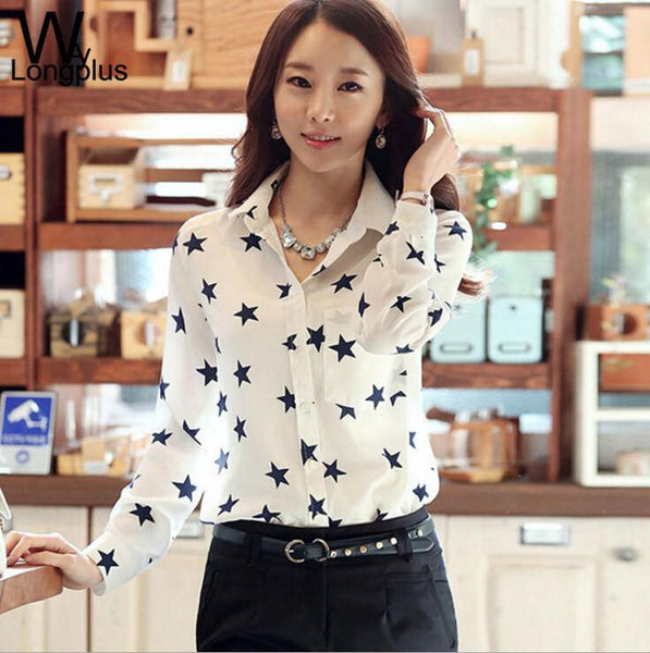 Women's Blouses Red Lips Print Chiffon Casual Lady Shirt White Stand Collar Button Long Sleeve Blouse