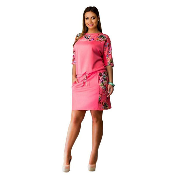 Women Dress Floral Printed Straight Dress Plus Size Women Clothing 5XL Big Size Pink Dress