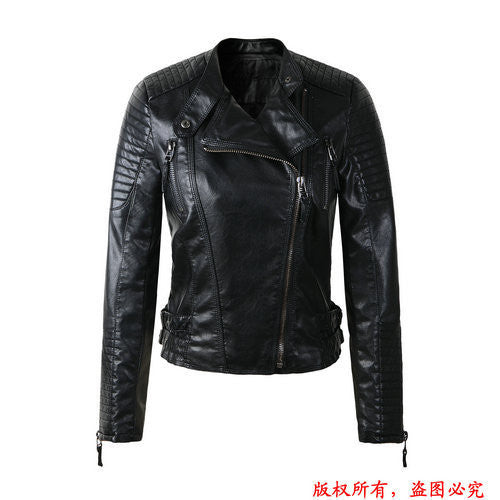 New Fashion  Women Brand Faux Soft Leather Jackets Pu Black Red Yellow Zippers Long Sleeve Motorcycle Coat
