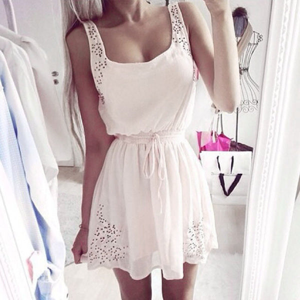 New Sexy Womens Dresses Slim Sleeveless Hollow White Women Summer Dress Lady 2 Color Chiffon Mini Dresses Vestidos casual