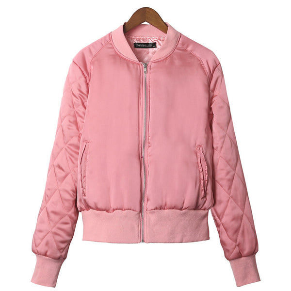 Online discount shop Australia - Fashion Brand Warm Women Zip Up Quilted Coat Jacket Short Slim Padded Bomber Fleece Pocket Outerwear S--2XL