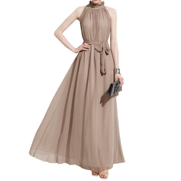 Online discount shop Australia - Bohemian Style Summer Women's Chiffon Long Maxi Dresses Halter Neck Sleeveless Beach Dress BS88