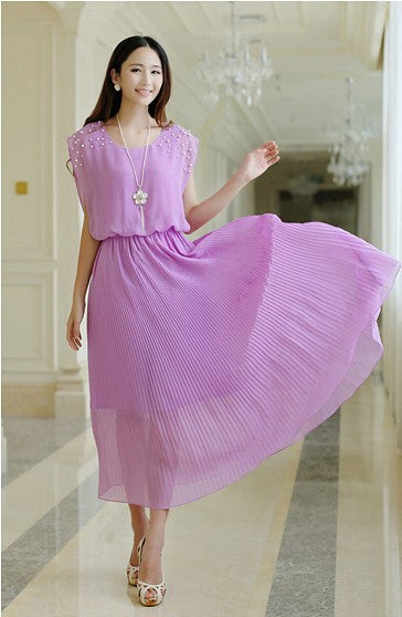 solid chiffon sleeveless women dress ankle-length beading dress elegant princess dress pleated lady dress