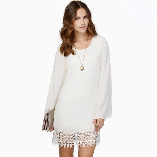 Online discount shop Australia - Dress Long Sleeve Party Dresses Women Lace Chiffon Casual Mini Dress White Black