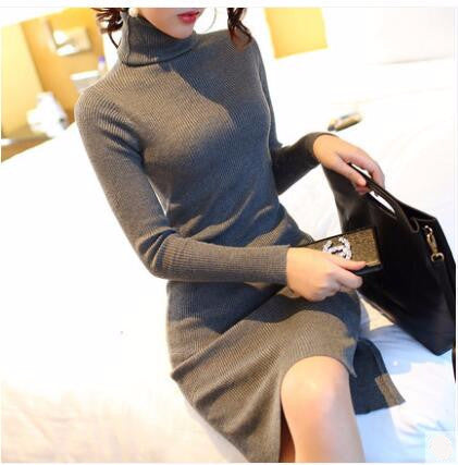 Online discount shop Australia - 2017 Women Autumn Winter Sweater Dresses Slim Turtleneck vestidos de festa Sexy Bodycon Solid Robe Long Knitted Office Dress 971