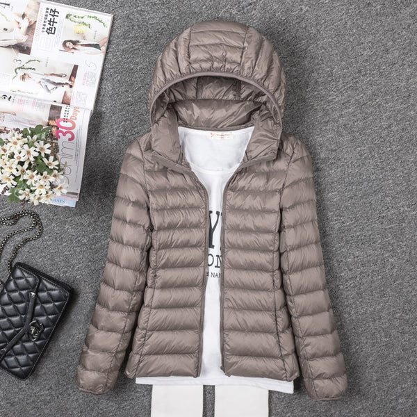 Thin Down Jacket Female Long Sleeved Hooded Women Ultra Light Warm Coat