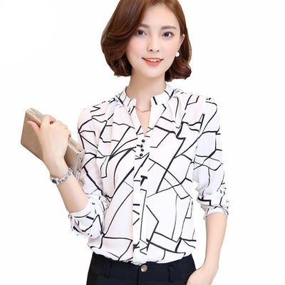 women shirts Chiffon Blouse Printed Long Sleeve Blouse White Striped Blouses Top Shirt